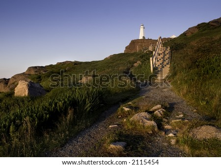 Cape Spear lighthouse in Newfoundland Canada near Saint Johns. - stock photo