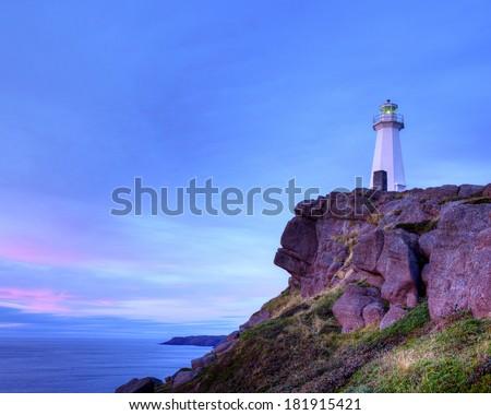 Cape Spear lighthouse, Newfoundland, Canada. - stock photo