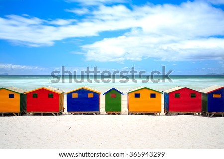 Cape Town colored houses on muizenberg beach - South Africa , Eastern Cape - stock photo