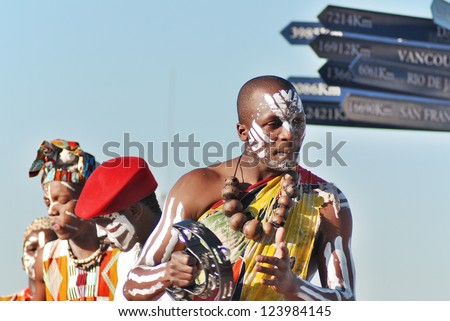 CAPE TOWN - MAY 25 : An unidentified young people wears traditional clothing, during presentation of a Zulu show on May 25, 2007 Cape Town, South Africa - stock photo