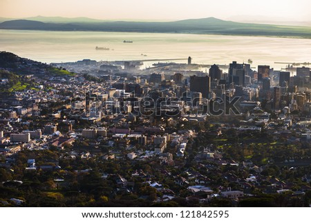 Cape Town seen from a high angle view - stock photo