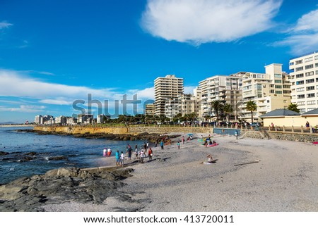 Cape Town, South Africa - April 14th 2015 - Some people enjoying a late afternoon in Sea Point neighbourhood in Cape Town in South Africa.