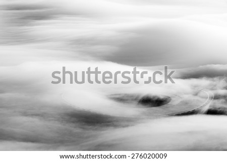 CAPE TOWN, SOUTH AFRICA - CIRCA APRIL 2015.The Cape Town Stadium is surrounded by fog in the early morning. The stadium was used during the 2010 FIFA World Cup. - stock photo
