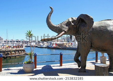 CAPE TOWN, SOUTH AFRICA- DEC 25, 2013: Elephant Statue in Cape Town, South Africa. Cape town is the most popular African city for tourists. - stock photo