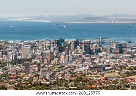 CAPE TOWN, SOUTH AFRICA - DECEMBER 18, 2014: The harbor and central business district as seen from Table Mountain Road