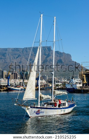 CAPE TOWN, SOUTH AFRICA - FEB 22, 2013: Boats in the harbour of Cape Town, South Africa. Cape town is the most popular international touristic destination in Africa - stock photo