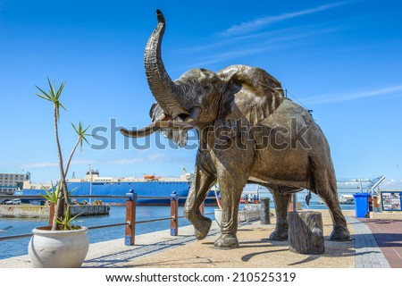 CAPE TOWN, SOUTH AFRICA - FEB 22, 2013: Elephant statue in Cape Town, South Africa. Cape town is the most popular international touristic destination in Africa - stock photo