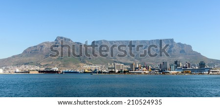 CAPE TOWN, SOUTH AFRICA - FEB 22, 2013: Panoramic view of Cape Town, South Africa. Cape town is the most popular international touristic destination in Africa - stock photo