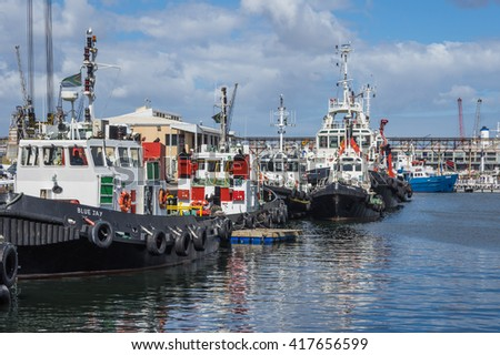 Cape Town South Africa March 20 2016  Tugboat's at dock in the Table Bay Harbour