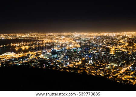 Cape Town, South Africa - November 11, 2016: Night view of the city centre of Cape Town , South Africa from Signal Hill