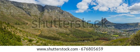 Cape Town Table Mountain range and Lions Head Peak - South Africa