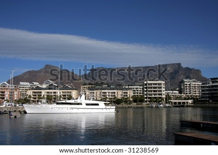 Cape Town water front looking back at table mountain - stock photo