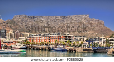 Cape Town waterfront overlooked by Table Mountain - stock photo