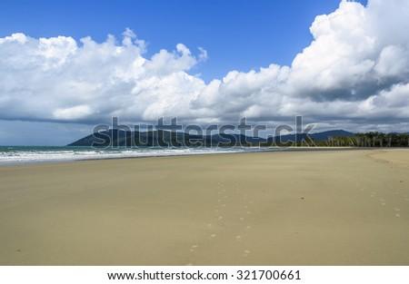 Cape Tribulation tropical beach - stock photo
