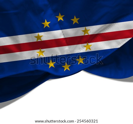Cape Verde flag and white background