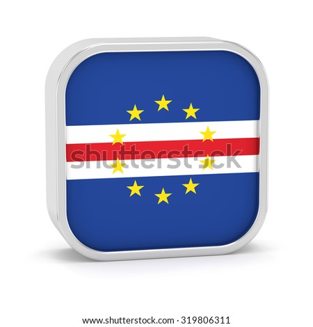 Cape Verde flag sign on a white background. Part of a series. - stock photo