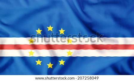 cape verde flag waving colorful
