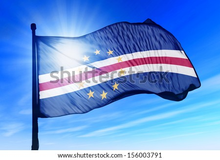 Cape Verde flag waving on the wind - stock photo