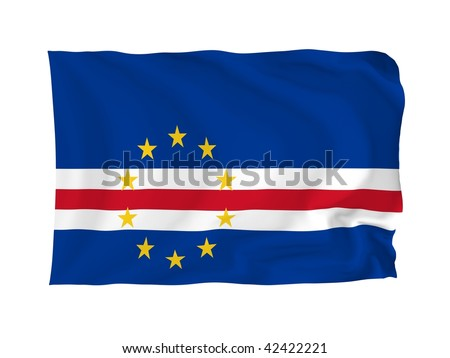 Cape Verde. High resolution African Flag series. With fabric texture.
