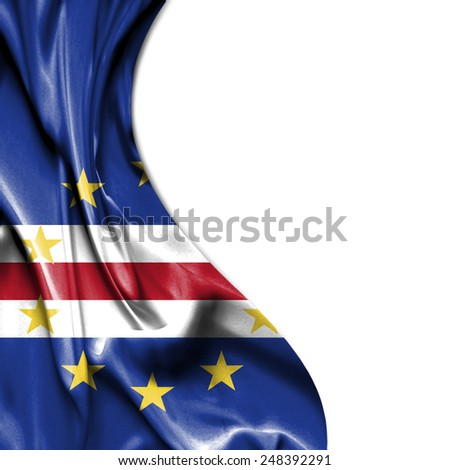 Cape Verde waving silky flag isolated on white background
