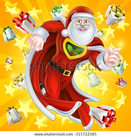 Caped cartoon Santa Claus Christmas superhero character with gifts and stars explosion in the background - stock photo