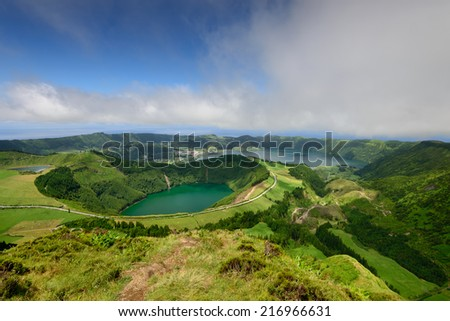 Capelas is a village on the island of Sao Miguel, in the Azores, a holiday destination for tourists - stock photo