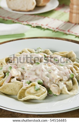 Capeletti of cream cheese, green sauce and pasta with bechamel (white sauce). Studio photography. - stock photo