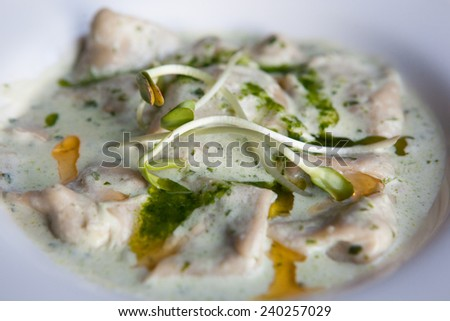 capeletti with chiken and veggies - stock photo
