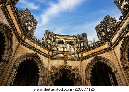 Capella of Batalha Dominican medieval monastery, Portugal - great masterpieces of Gothic art. UNESCO World Heritage - stock photo