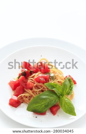 Capellini cold tomato sauce  - stock photo