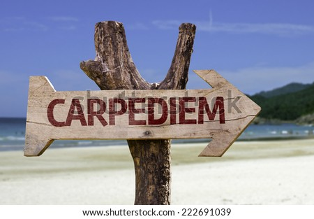 Caperdiem wooden sign with a beach on background - stock photo