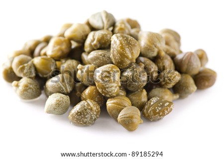 capers isolated on a white background - stock photo