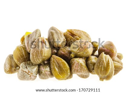 Capers isolated on white background - stock photo