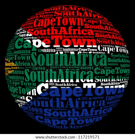 Capetown capital city of South Africa info-text graphics and arrangement concept on black background (word cloud) - stock photo