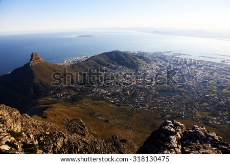 Capetown views from the Tabletop Mountain, South Africa - stock photo