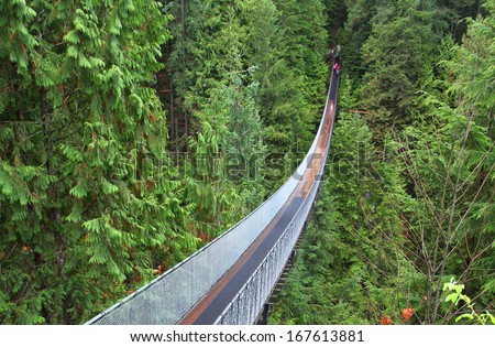 Capilano suspension bridge near Vancouver in Canada - stock photo