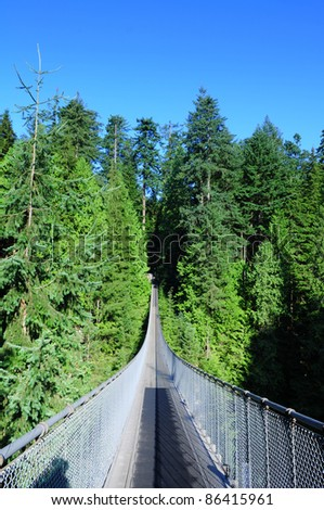 Capilano suspension bridge Vancouver, Canada - stock photo