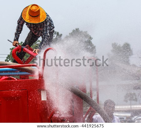 Capita per water during fire ready to use in the outdoor. - stock photo