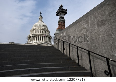 Capital Building on the top of the stairs, in Washington DC - stock photo