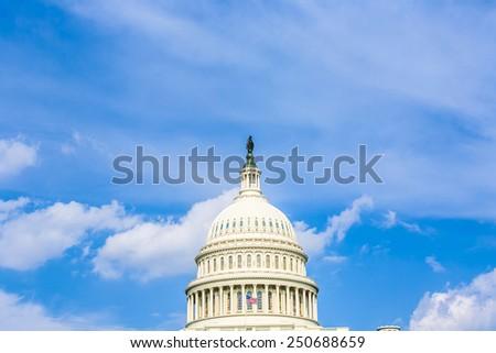 Capital Building, Washington DC under blue sky - stock photo