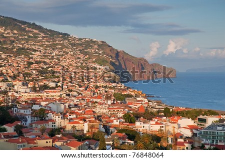 capital city funchal on madeira island, portugal - stock photo
