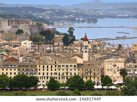 Capital city of Corfu island in Greece. - stock photo