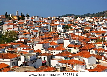 capital city Skiathos with church