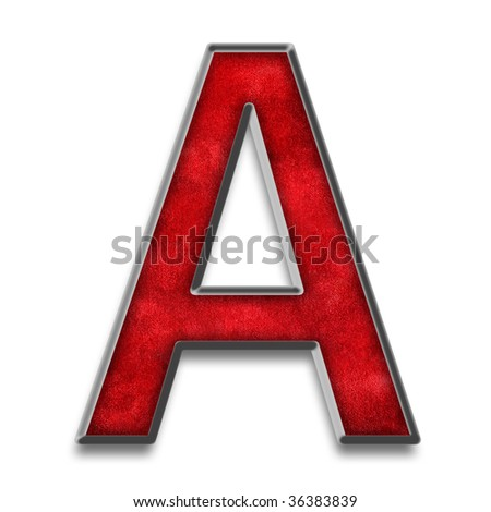 Capital Letter A In Red Texture With Metallic Silver Outline