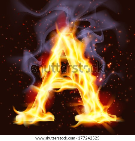 Capital letter A on fire. - stock photo