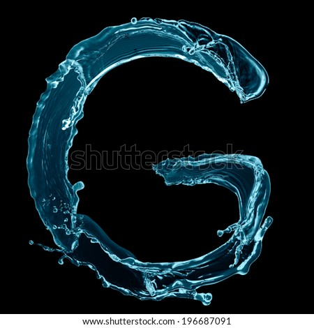 Capital letter g water alphabet isolated stock photo edit now capital letter g of water alphabet isolated on black background altavistaventures Images