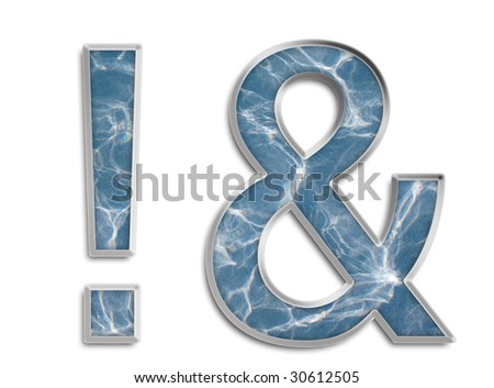 Capital & lowercase A in blue & white rippled water