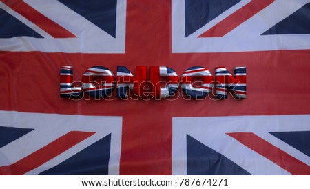 Capital Name Text LONDON And A Union Jack Flag Background