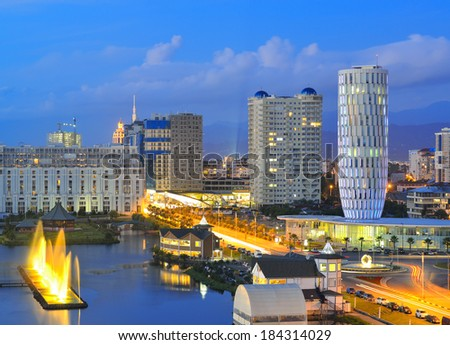 Capital of Adjara - Batumi in the evening. Georgia. - stock photo