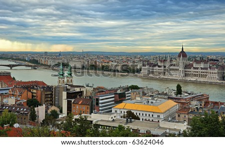 Capital of Hungary-Budapest on the river Danube. Buda and Pesht.
